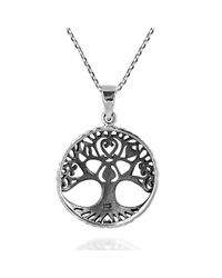 Aeravida - Metallic Enchanted Heart Tree Of Life .925 Sterling Silver Necklace - Lyst