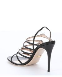 Gucci | Black Leather Strappy Slingback Sandals | Lyst