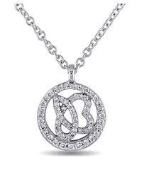 Julianna B | Metallic 1/4 Ct Diamond Tw And 14k White Gold Necklace | Lyst