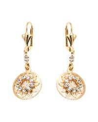 Peermont   Metallic Gold & Crystal Round Drop Earrings   Lyst