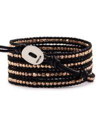 Chan Luu | Rose Gold Wrap Bracelet On Black Leather | Lyst