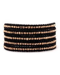 Chan Luu - Rose Gold Wrap Bracelet On Black Leather - Lyst