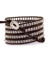 Chan Luu - Clear Quartz Wrap Bracelet On Brown Leather - Lyst