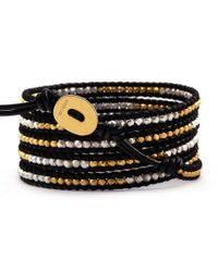 Chan Luu - Gold Toned And Sterling Silver Wrap Bracelet On Black Leather - Lyst