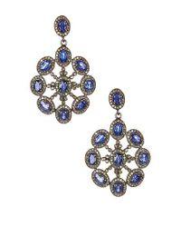 Vanhi   Metallic Sterling Silver Diamond Sapphire Sun Burst Earrings - 2.66 Ctw   Lyst