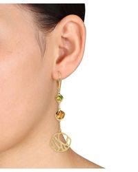 Catherine Malandrino - Metallic 18k Yellow Gold Plated Circle Drop Leverback Earrings - Lyst