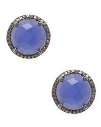 Adornia   Blue Chalcedony And Champagne Diamond Echo Earrings   Lyst