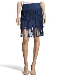 Romeo and Juliet Couture | Blue Suede Tier Fringe Knit Skirt | Lyst