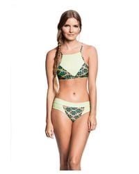 Estivo | Green Wide Side Demi Thong Print Neon | Lyst