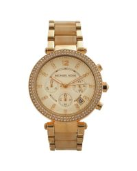 Michael Kors   Metallic Mk5632 Chronograph Parker Horn Acetate And Gold-tone Stainless Steel Watch for Men   Lyst