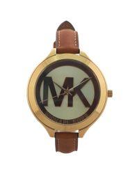 Michael Kors | Brown Mk2326 Slim Runway Luggage Leather Strap Watch for Men | Lyst