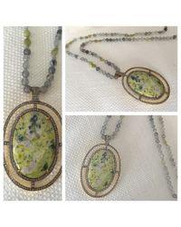 Blue Candy Jewelry - Large Jasper Diamond Pendant On Green Garnet And Labradorite Chain - Lyst