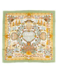 Hermès - Metallic Vintage Scarf Ciels Byzantins - Lyst