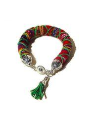 Ix Style - Red Wrapped Woven Tasseled Bracelet - Lyst