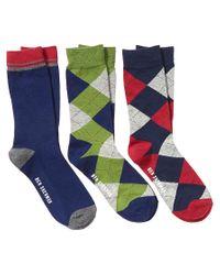Ben Sherman | Blue Men's Pack Of 3 Socks for Men | Lyst