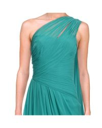 Monique Lhuillier - Blue Grecian Asymmetric Chiffon Pleated Gown - Lyst