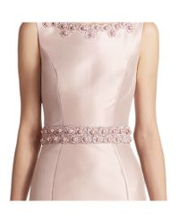 THEIA - Pink Embroidered Sleeveless Mermaid Evening Gown - Lyst