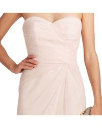 Monique Lhuillier Bridesmaids - Pink Strapless Draped Tulle Gown - Lyst