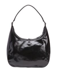 Longchamp - Black Patent Leather 'roseau' Hobo Shoulder Bag - Lyst