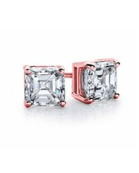 Suzy Levian - Pink Rose Plated Sterling Silver Asscher-cut Cubic Zirconia 6mm 2.50 Cttw Stud Earrings - Lyst