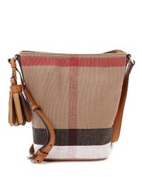 Burberry | Brown - Check Canvas Crossbody Bag - Women - Cotton/leather - One Size | Lyst