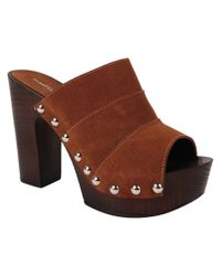 Charles David - Brown Ellina Suede Slip-on Heel Sandal - Lyst