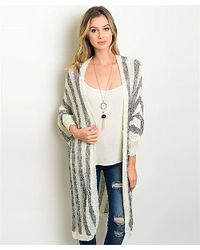 Leather And Sequins   Gray Heather Grey Stripe Long Cardigan   Lyst