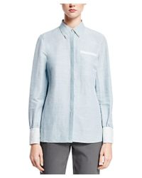 Brooks Brothers | Blue Linen-blend Blouse | Lyst