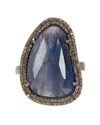 Adornia | Blue Sapphire And Champagne Diamond Gemma Ring | Lyst
