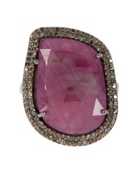 Adornia   Pink Sapphire And Champagne Diamond Gemma Ring   Lyst