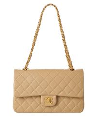 Chanel   Natural Beige Quilted Lambskin Medium Double Flap Bag   Lyst