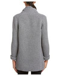Lafayette 148 New York - Gray Wool & Cashmere-blend Cardigan - Lyst