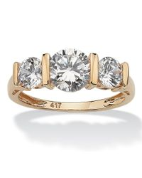 Palmbeach Jewelry - White 2.50 Tcw Round Cubic Zirconia 10k Gold 3-stone Bridal Engagement Ring - Lyst