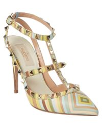Valentino - Metallic Rockstud Native Couture Leather Ankle Strap Pump - Lyst
