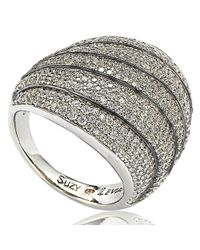 Suzy Levian - Blue Sterling Silver Cubic Zirconia Multi-level Curved Dome Ring - Lyst