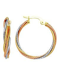 JewelryAffairs - 10k 3 Tone White, Yellow And Rose Gold Triple Braided Cables Round Hoop Earrings, Diameter 23mm - Lyst