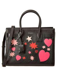 Saint Laurent - Black Baby Sac De Jour Heart Applique Leather Tote - Lyst