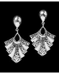 Lois Hill - Black Fan Collection Silver Signature Scroll Earrings - Lyst