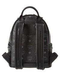 MCM - Black Diamond Visetos Mini Canvas & Leather Backpack - Lyst