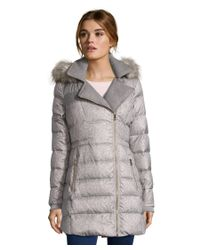 Catherine Malandrino | Gray Wool Printed Polyester Cire Down Coat With Heavy Wool Facings And Faux Fur Trim | Lyst