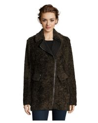 Catherine Malandrino | Black Flat Faux Curly Lamb Fur Coat With Wool Combo And Asymmetrical Zipper Closure | Lyst