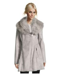 Catherine Malandrino | Gray Luxurious Faux Shearling Fit & Flare Asymmetrical Zip Coat With Oversized Faux Fur Collar | Lyst