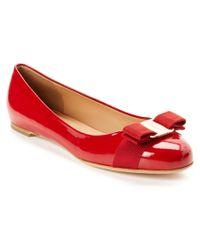 Ferragamo - Red Varina Patent Leather Ballerinas - Lyst