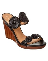 Jack Rogers - Black Luccia Leather Wedge Sandal - Lyst