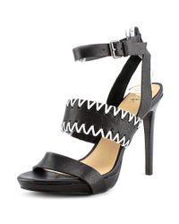 Joe's Jeans | Black Riana Open-toe Leather Slingback Heel | Lyst