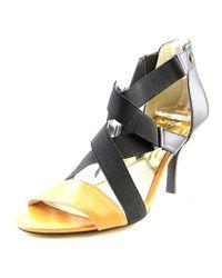 MICHAEL Michael Kors   Wendy Mid Women Open Toe Leather Black Sandals   Lyst
