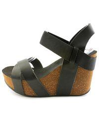 MIA - Joy Women Open Toe Synthetic Black Wedge Sandal - Lyst
