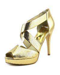 MICHAEL Michael Kors   Metallic Ariel Platform Women Open Toe Leather Gold Platform Sandal   Lyst