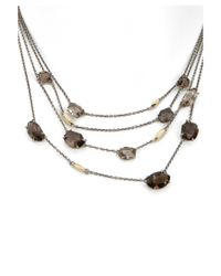 Alexis Bittar | Metallic Women's Sterling Silver Brown Quartz & 18k Yellow Gold Layer Necklace | Lyst