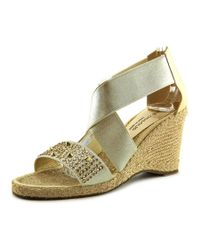 Andre Assous | Metallic Dalton Met Women Open Toe Canvas Wedge Sandal | Lyst